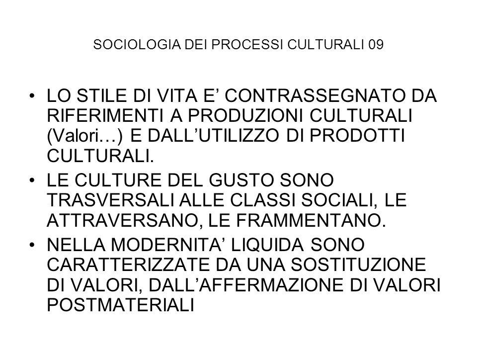 SOCIOLOGIA DEI PROCESSI CULTURALI 09 LO STILE DI VITA E CONTRASSEGNATO DA RIFERIMENTI A PRODUZIONI CULTURALI (Valori…) E DALLUTILIZZO DI PRODOTTI CULT