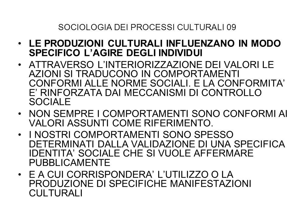 SOCIOLOGIA DEI PROCESSI CULTURALI 09 LE PRODUZIONI CULTURALI INFLUENZANO IN MODO SPECIFICO LAGIRE DEGLI INDIVIDUI ATTRAVERSO LINTERIORIZZAZIONE DEI VA