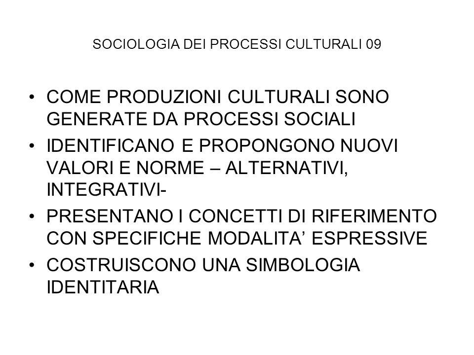 SOCIOLOGIA DEI PROCESSI CULTURALI 09 COME PRODUZIONI CULTURALI SONO GENERATE DA PROCESSI SOCIALI IDENTIFICANO E PROPONGONO NUOVI VALORI E NORME – ALTE