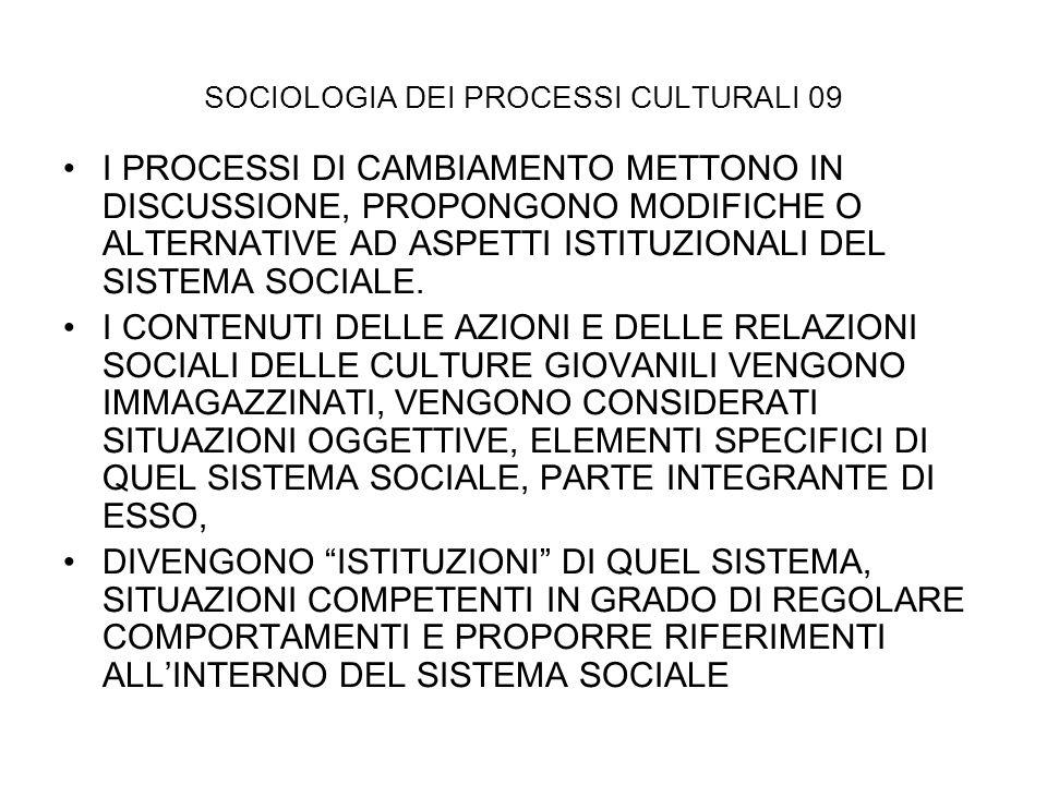 SOCIOLOGIA DEI PROCESSI CULTURALI 09 I PROCESSI DI CAMBIAMENTO METTONO IN DISCUSSIONE, PROPONGONO MODIFICHE O ALTERNATIVE AD ASPETTI ISTITUZIONALI DEL