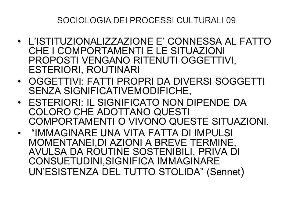 SOCIOLOGIA DEI PROCESSI CULTURALI 09 LISTITUZIONALIZZAZIONE E CONNESSA AL FATTO CHE I COMPORTAMENTI E LE SITUAZIONI PROPOSTI VENGANO RITENUTI OGGETTIV