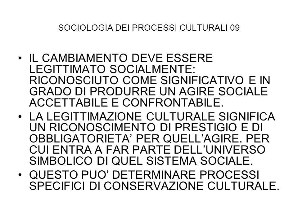 SOCIOLOGIA DEI PROCESSI CULTURALI 09 IL CAMBIAMENTO DEVE ESSERE LEGITTIMATO SOCIALMENTE: RICONOSCIUTO COME SIGNIFICATIVO E IN GRADO DI PRODURRE UN AGI