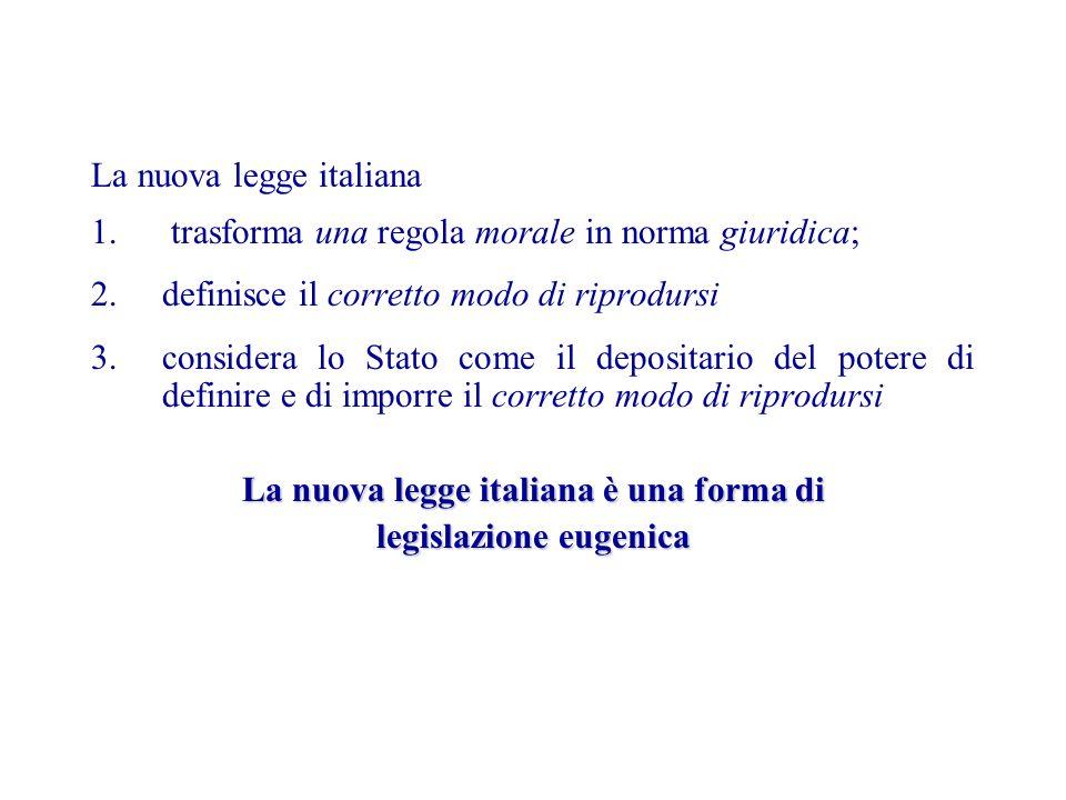 La nuova legge italiana 1. trasforma una regola morale in norma giuridica; 2.definisce il corretto modo di riprodursi 3.considera lo Stato come il dep