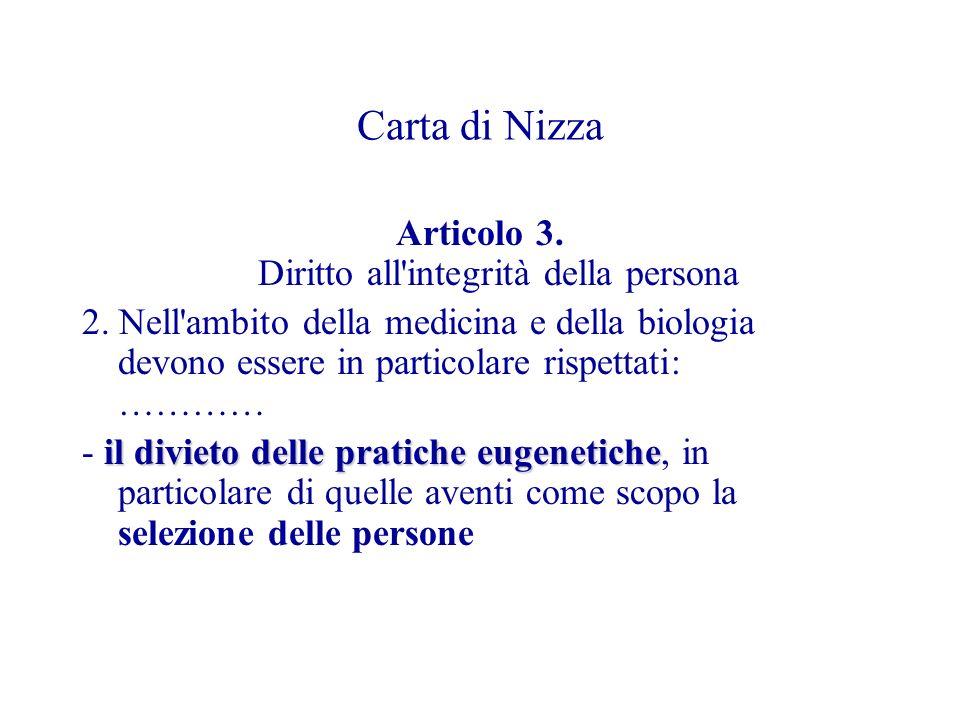 Carta di Nizza Articolo 3.Diritto all integrità della persona 2.
