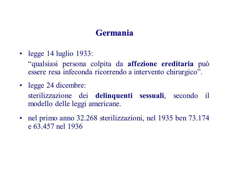 Germania legge 14 luglio 1933: qualsiasi persona colpita da affezione ereditaria può essere resa infeconda ricorrendo a intervento chirurgico.