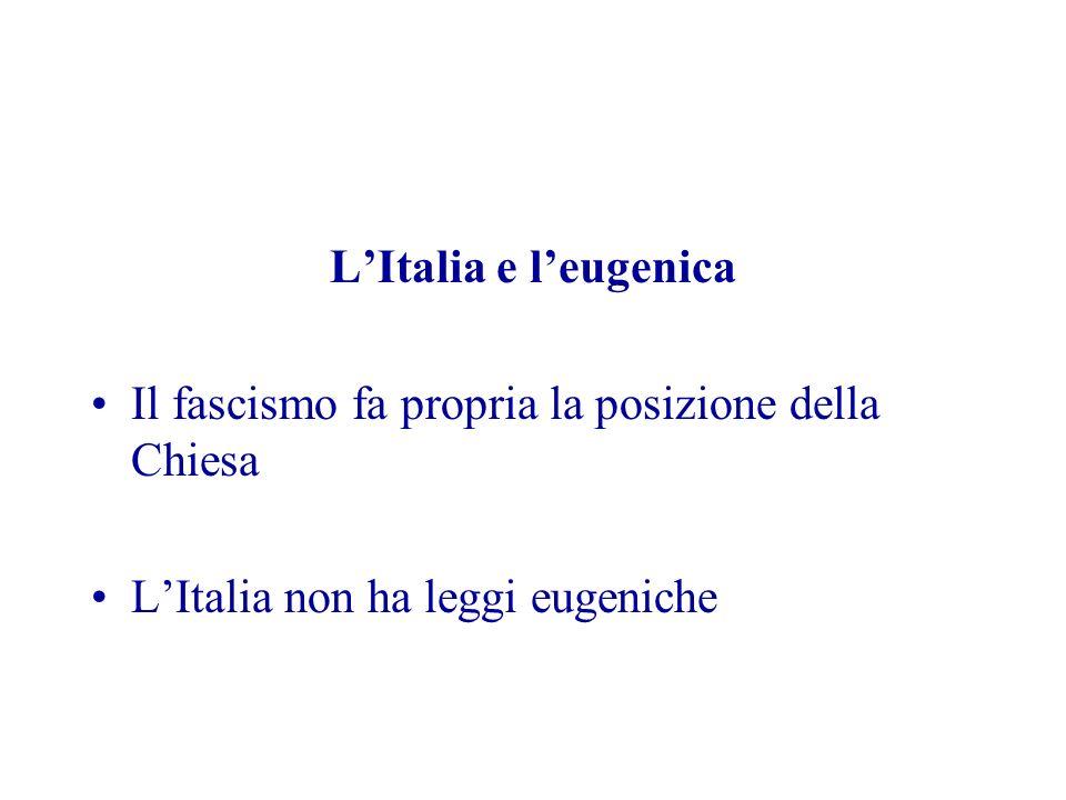 LItalia e leugenica Il fascismo fa propria la posizione della Chiesa LItalia non ha leggi eugeniche