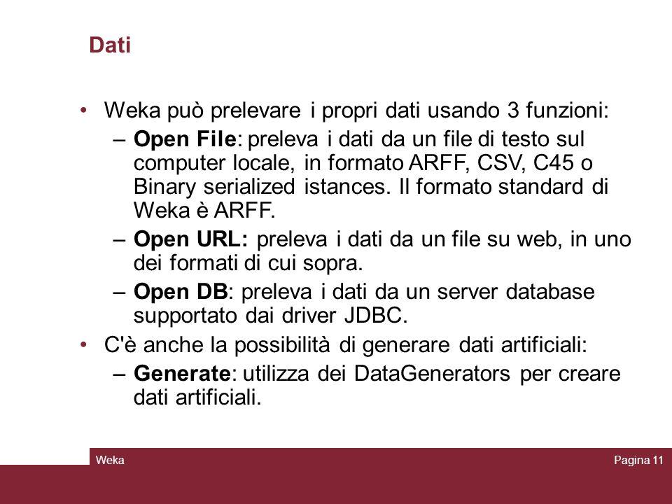 WekaPagina 11 Dati Weka può prelevare i propri dati usando 3 funzioni: –Open File: preleva i dati da un file di testo sul computer locale, in formato