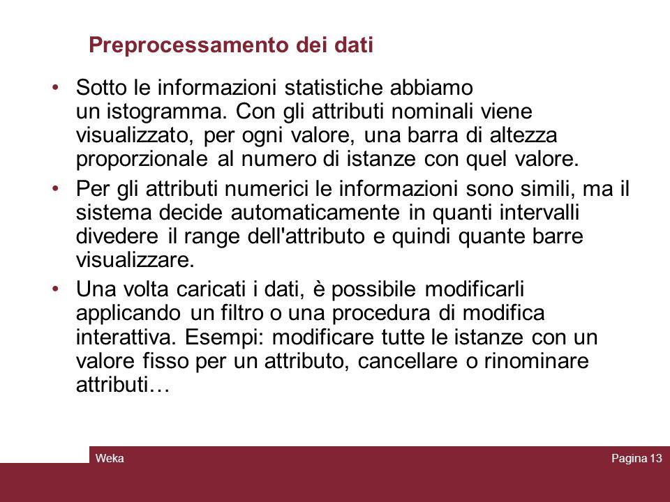 WekaPagina 13 Preprocessamento dei dati Sotto le informazioni statistiche abbiamo un istogramma. Con gli attributi nominali viene visualizzato, per og