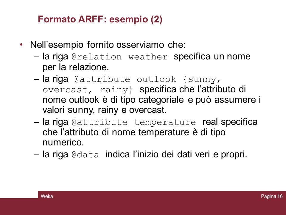 WekaPagina 16 Formato ARFF: esempio (2) Nellesempio fornito osserviamo che: –la riga @relation weather specifica un nome per la relazione. –la riga @a