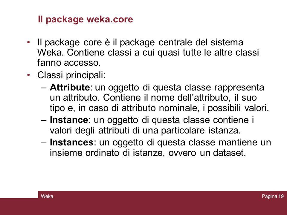 WekaPagina 19 Il package weka.core Il package core è il package centrale del sistema Weka. Contiene classi a cui quasi tutte le altre classi fanno acc