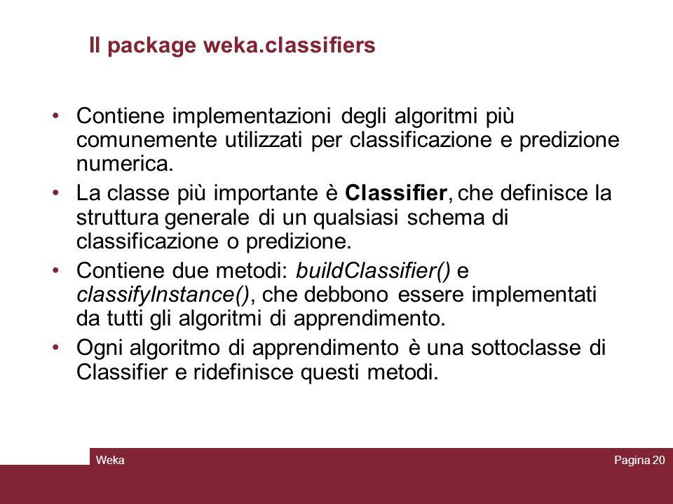 WekaPagina 20 Il package weka.classifiers Contiene implementazioni degli algoritmi più comunemente utilizzati per classificazione e predizione numeric