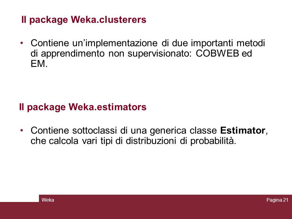 WekaPagina 21 Contiene unimplementazione di due importanti metodi di apprendimento non supervisionato: COBWEB ed EM. Il package Weka.clusterers Contie
