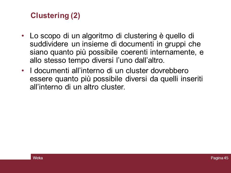 WekaPagina 45 Clustering (2) Lo scopo di un algoritmo di clustering è quello di suddividere un insieme di documenti in gruppi che siano quanto più pos