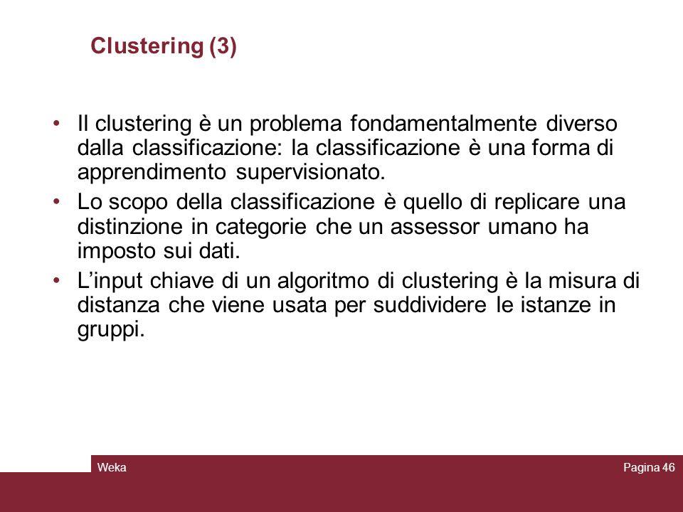WekaPagina 46 Clustering (3) Il clustering è un problema fondamentalmente diverso dalla classificazione: la classificazione è una forma di apprendimen