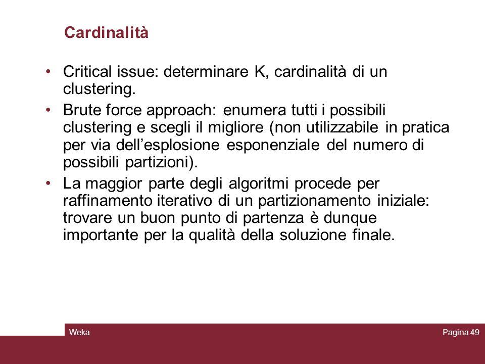 WekaPagina 49 Cardinalità Critical issue: determinare K, cardinalità di un clustering. Brute force approach: enumera tutti i possibili clustering e sc