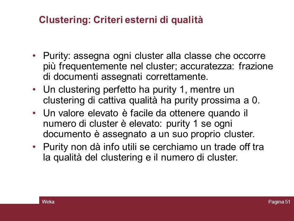 WekaPagina 51 Clustering: Criteri esterni di qualità Purity: assegna ogni cluster alla classe che occorre più frequentemente nel cluster; accuratezza: