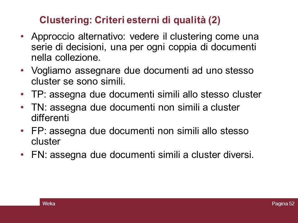 WekaPagina 52 Clustering: Criteri esterni di qualità (2) Approccio alternativo: vedere il clustering come una serie di decisioni, una per ogni coppia