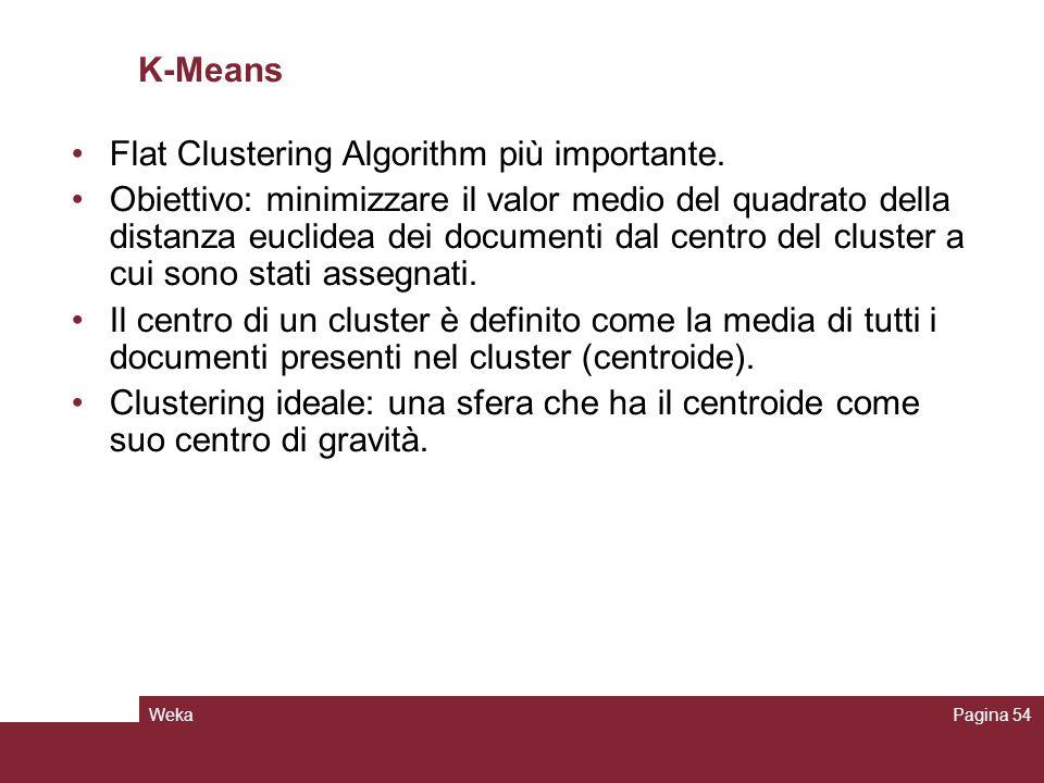 WekaPagina 54 K-Means Flat Clustering Algorithm più importante. Obiettivo: minimizzare il valor medio del quadrato della distanza euclidea dei documen