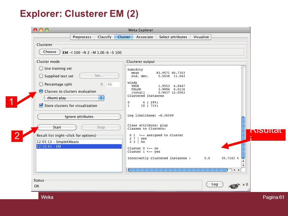 WekaPagina 61 Explorer: Clusterer EM (2) 1 2 Risultat i