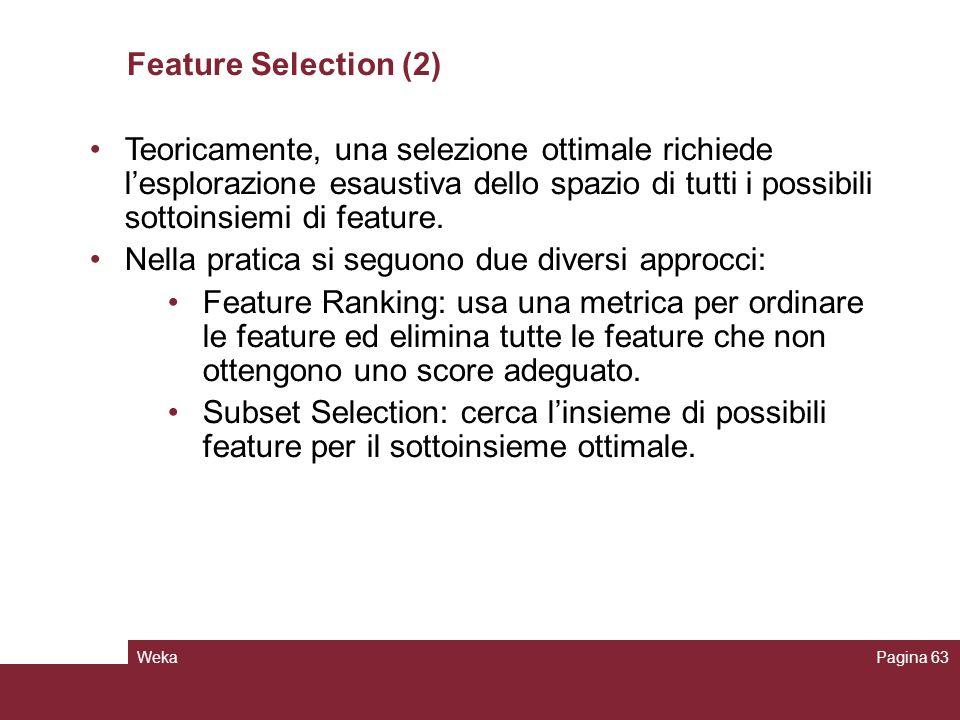 WekaPagina 63 Feature Selection (2) Teoricamente, una selezione ottimale richiede lesplorazione esaustiva dello spazio di tutti i possibili sottoinsie