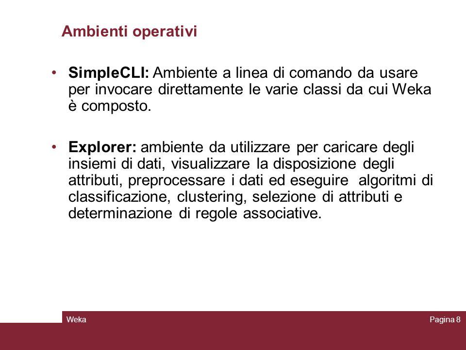 WekaPagina 8 Ambienti operativi SimpleCLI: Ambiente a linea di comando da usare per invocare direttamente le varie classi da cui Weka è composto. Expl