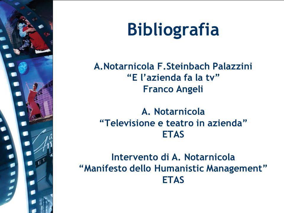 Bibliografia A.Notarnicola F.Steinbach Palazzini E lazienda fa la tv Franco Angeli A. Notarnicola Televisione e teatro in azienda ETAS Intervento di A