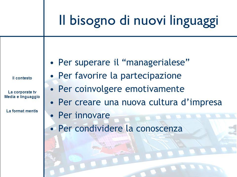 Il contesto La corporate tv Media e linguaggio La format mentis Il bisogno di nuovi linguaggi Per superare il managerialese Per favorire la partecipaz