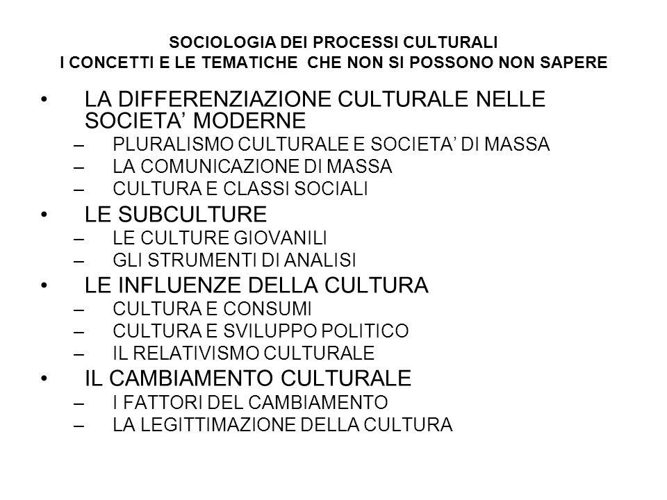 SOCIOLOGIA DEI PROCESSI CULTURALI I CONCETTI E LE TEMATICHE CHE NON SI POSSONO NON SAPERE LA DIFFERENZIAZIONE CULTURALE NELLE SOCIETA MODERNE –PLURALI