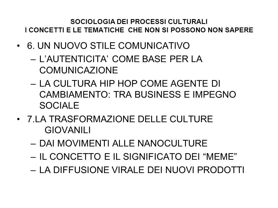 SOCIOLOGIA DEI PROCESSI CULTURALI I CONCETTI E LE TEMATICHE CHE NON SI POSSONO NON SAPERE 6.