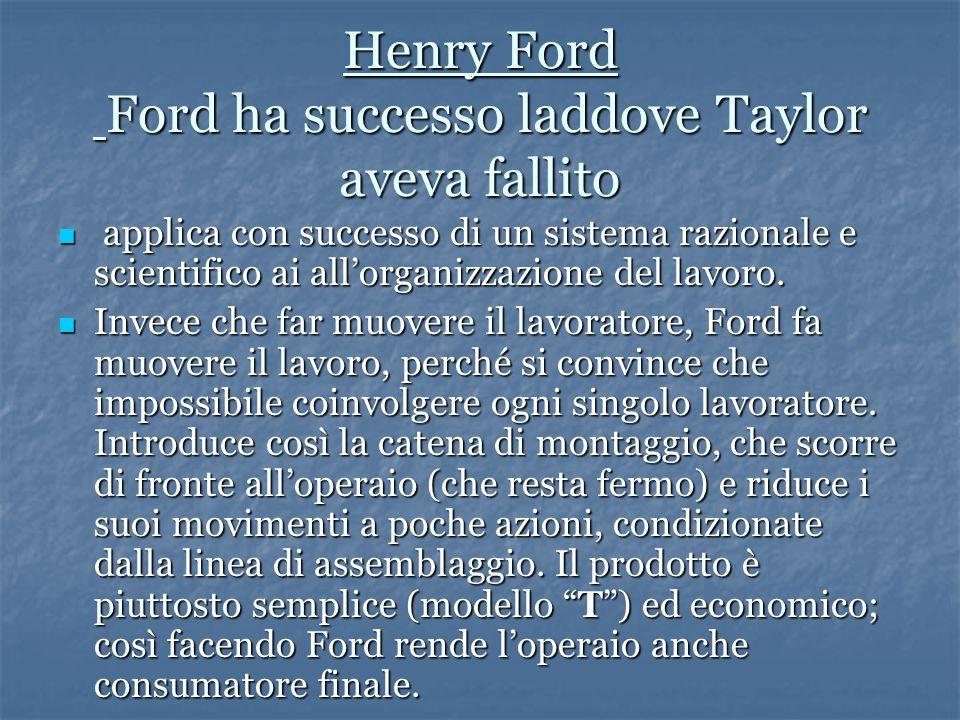 Henry Ford Ford ha successo laddove Taylor aveva fallito applica con successo di un sistema razionale e scientifico ai allorganizzazione del lavoro.