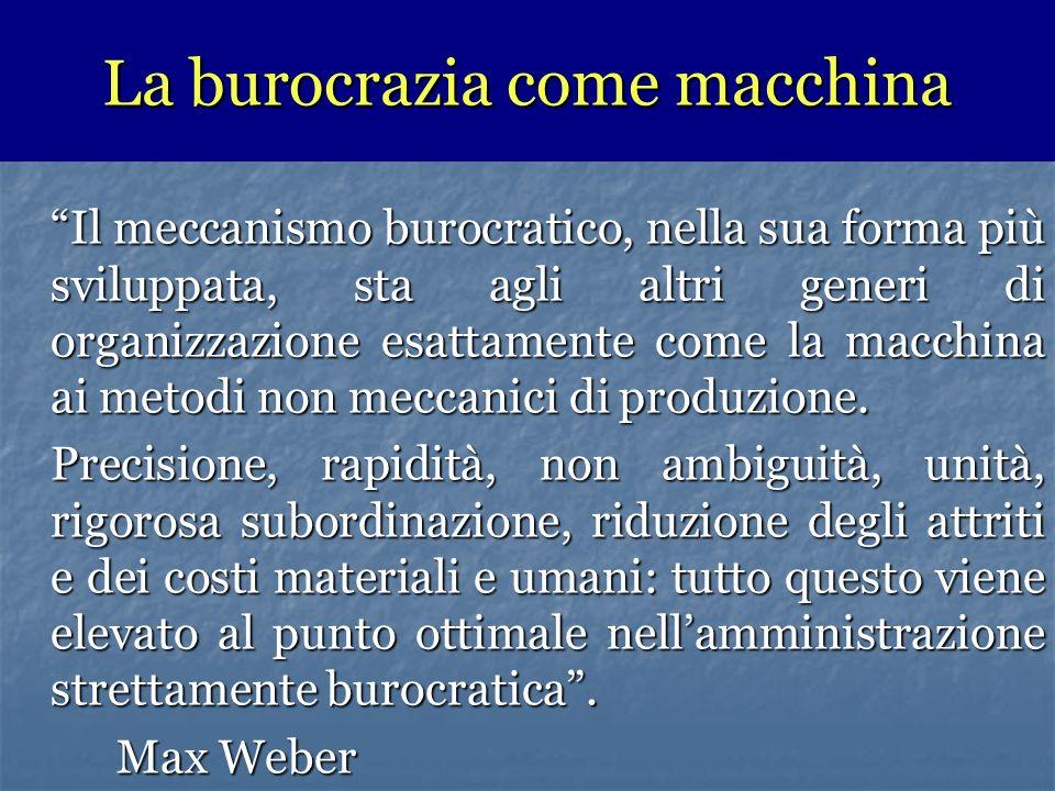 Il meccanismo burocratico, nella sua forma più sviluppata, sta agli altri generi di organizzazione esattamente come la macchina ai metodi non meccanici di produzione.