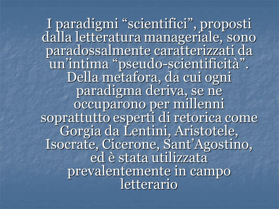 I paradigmi scientifici, proposti dalla letteratura manageriale, sono paradossalmente caratterizzati da unintima pseudo-scientificità.
