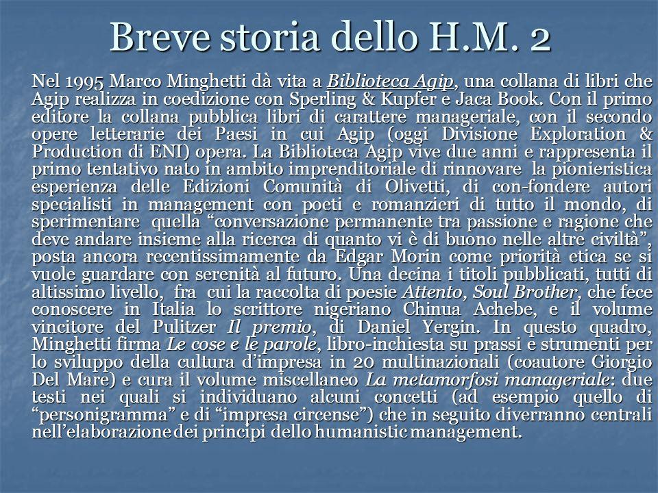 Breve storia dello H.M. 2 Nel 1995 Marco Minghetti dà vita a Biblioteca Agip, una collana di libri che Agip realizza in coedizione con Sperling & Kupf