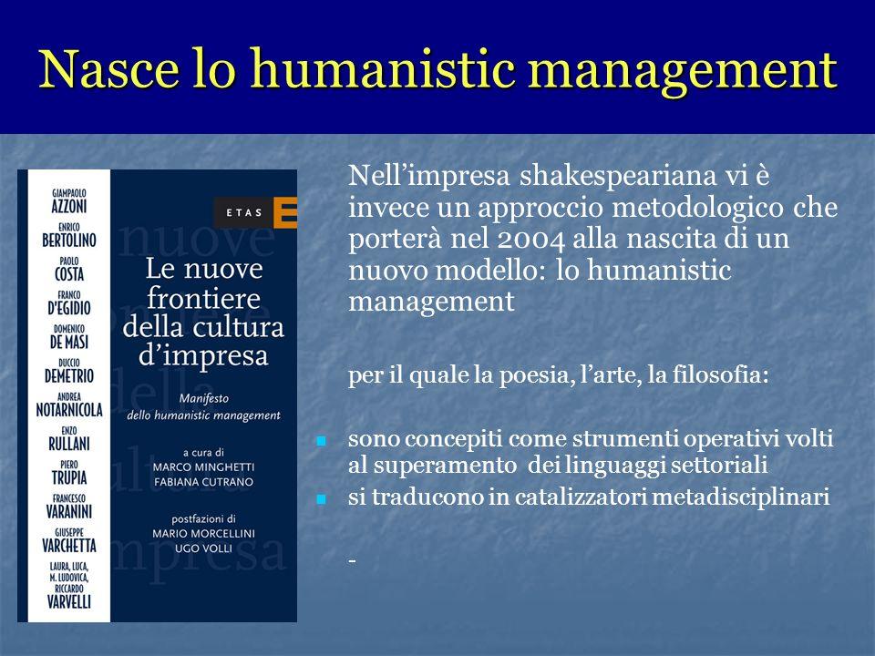 Nasce lo humanistic management Nellimpresa shakespeariana vi è invece un approccio metodologico che porterà nel 2004 alla nascita di un nuovo modello: