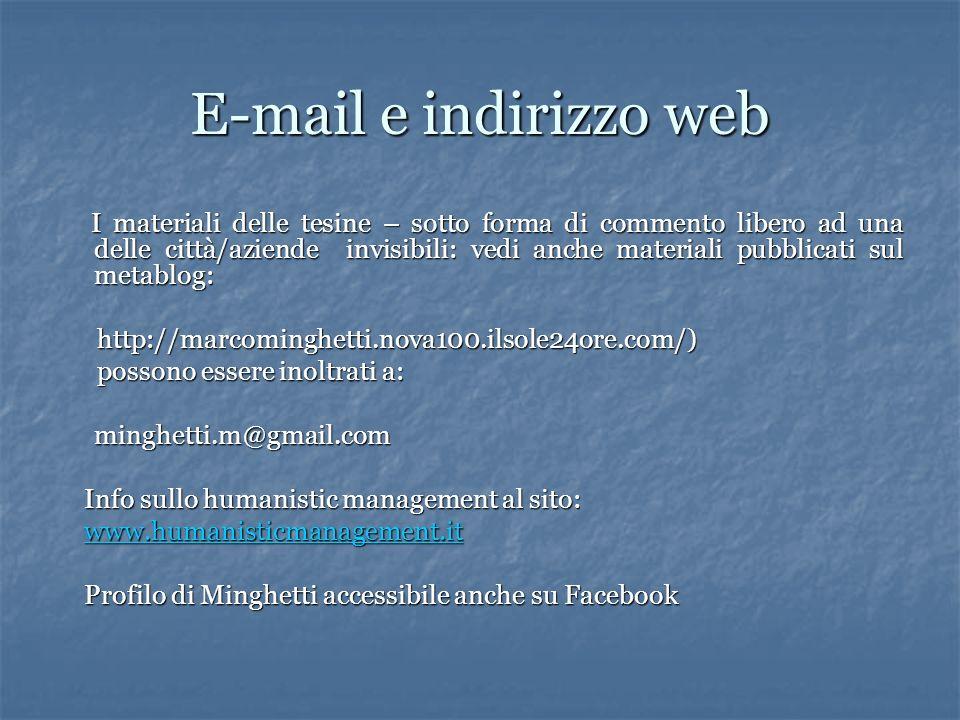 E-mail e indirizzo web I materiali delle tesine – sotto forma di commento libero ad una delle città/aziende invisibili: vedi anche materiali pubblicat