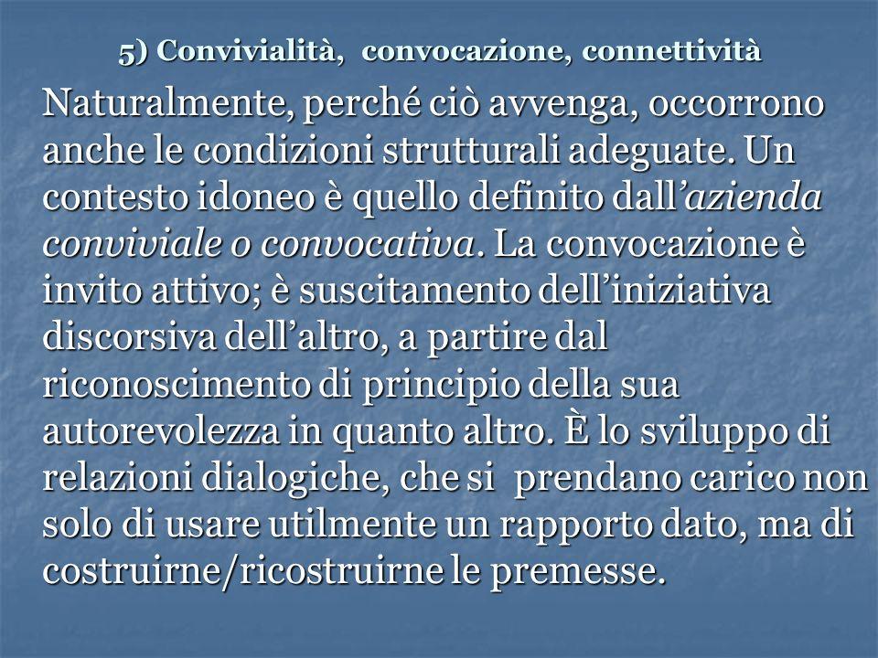 5) Convivialità, convocazione, connettività Naturalmente, perché ciò avvenga, occorrono anche le condizioni strutturali adeguate.