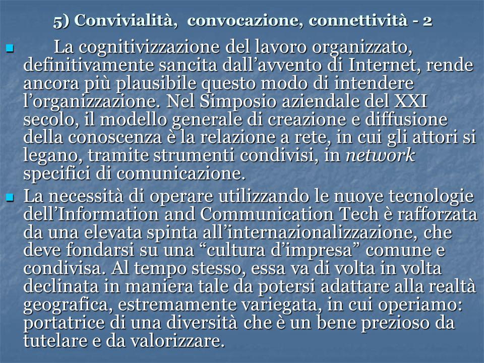 5) Convivialità, convocazione, connettività - 2 La cognitivizzazione del lavoro organizzato, definitivamente sancita dallavvento di Internet, rende ancora più plausibile questo modo di intendere lorganizzazione.