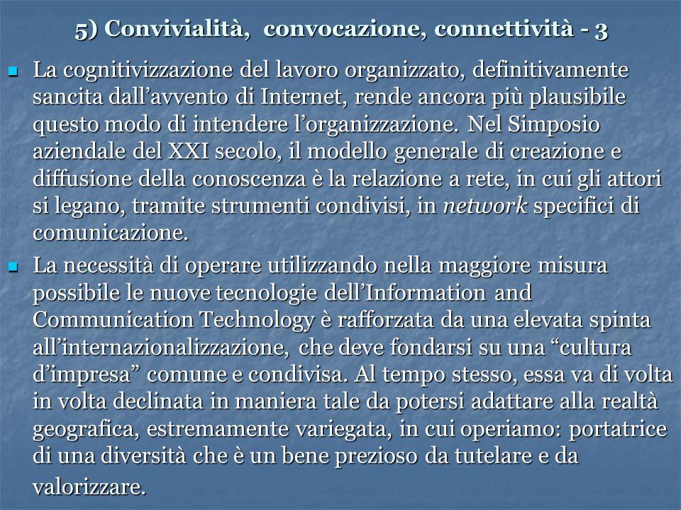 5) Convivialità, convocazione, connettività - 3 La cognitivizzazione del lavoro organizzato, definitivamente sancita dallavvento di Internet, rende ancora più plausibile questo modo di intendere lorganizzazione.