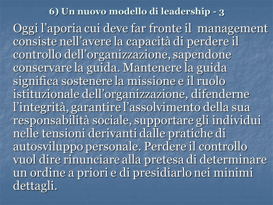 6) Un nuovo modello di leadership - 3 Oggi laporia cui deve far fronte il management consiste nellavere la capacità di perdere il controllo dellorganizzazione, sapendone conservare la guida.
