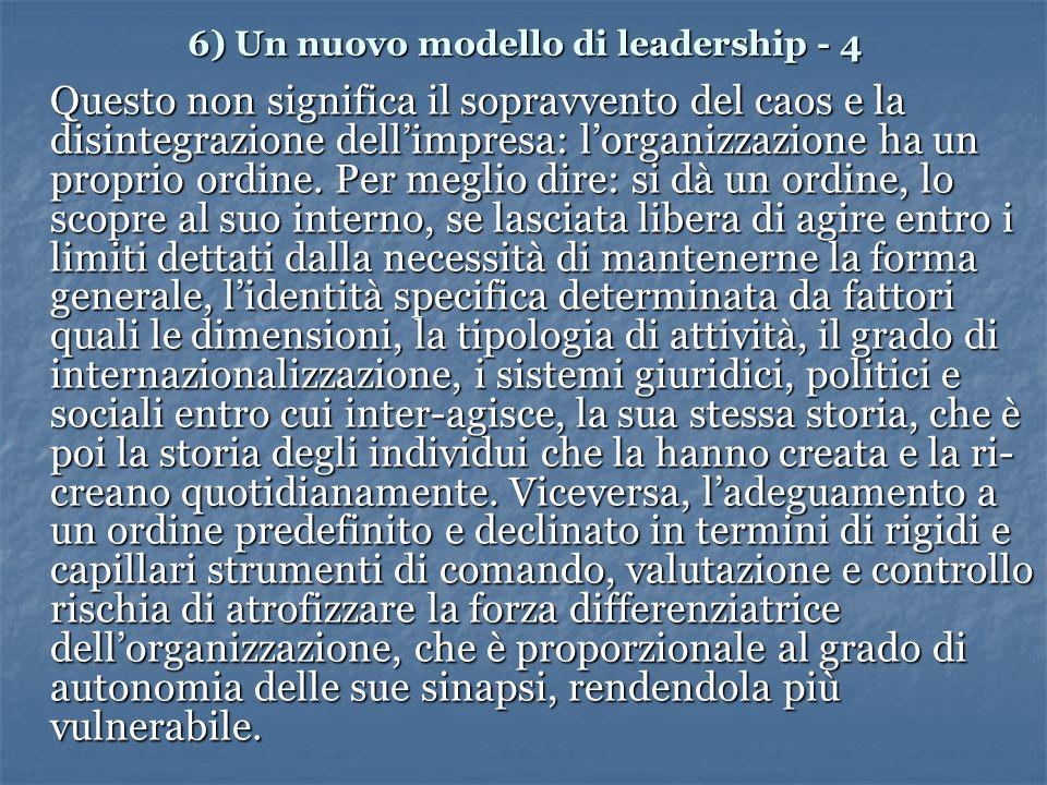 6) Un nuovo modello di leadership - 4 Questo non significa il sopravvento del caos e la disintegrazione dellimpresa: lorganizzazione ha un proprio ordine.