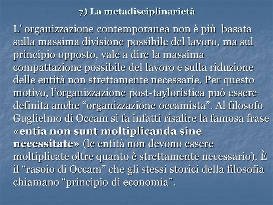 7) La metadisciplinarietà L organizzazione contemporanea non è più basata sulla massima divisione possibile del lavoro, ma sul principio opposto, vale a dire la massima compattazione possibile del lavoro e sulla riduzione delle entità non strettamente necessarie.