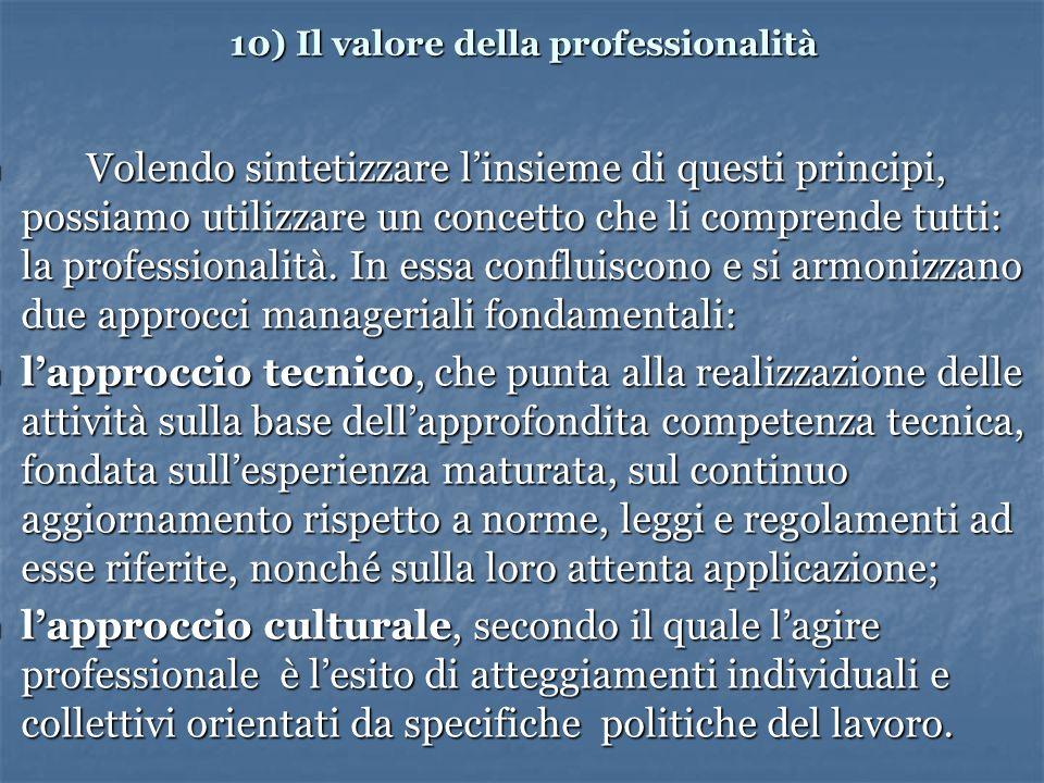 10) Il valore della professionalità Volendo sintetizzare linsieme di questi principi, possiamo utilizzare un concetto che li comprende tutti: la professionalità.