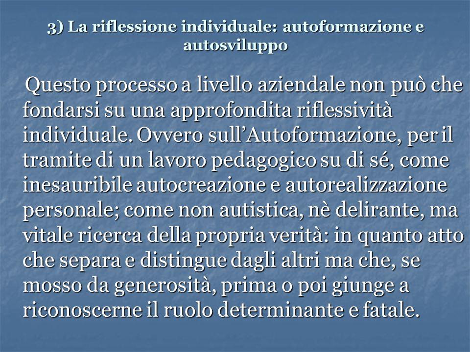 3) La riflessione individuale: autoformazione e autosviluppo Questo processo a livello aziendale non può che fondarsi su una approfondita riflessività individuale.