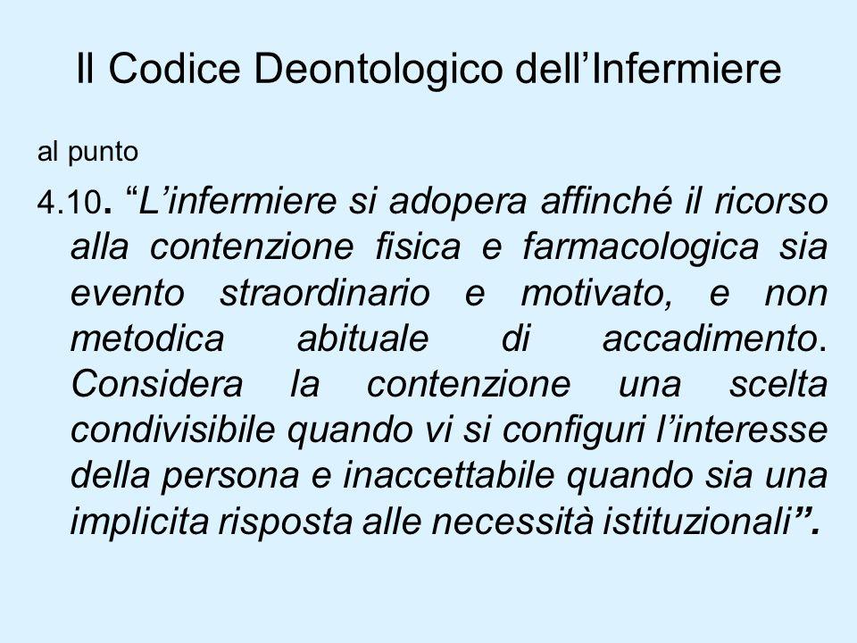 Il Codice Deontologico dellInfermiere al punto 4.10.