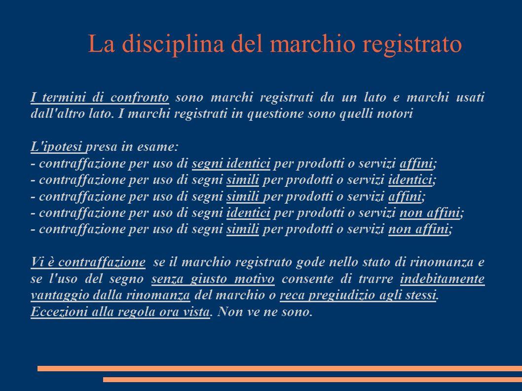 La disciplina del marchio registrato I termini di confronto sono marchi registrati da un lato e marchi usati dall altro lato.
