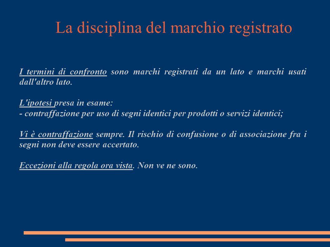La disciplina del marchio registrato II ipotesi: uso confusorio di un marchio altrui Art.