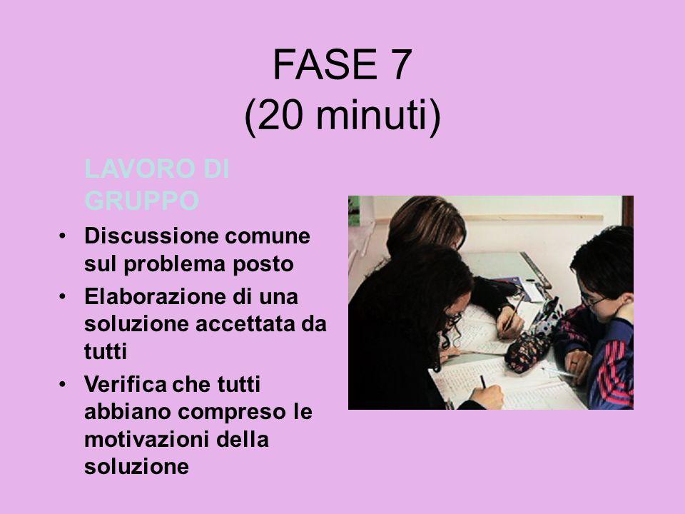 FASE 7 (20 minuti) LAVORO DI GRUPPO Discussione comune sul problema posto Elaborazione di una soluzione accettata da tutti Verifica che tutti abbiano
