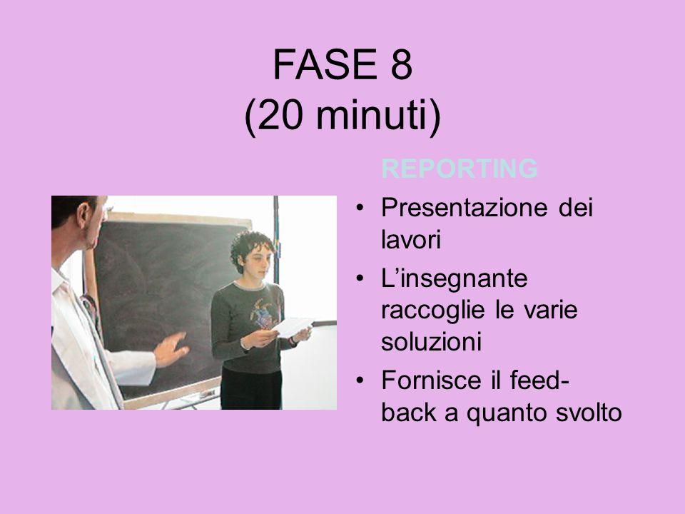 FASE 8 (20 minuti) REPORTING Presentazione dei lavori Linsegnante raccoglie le varie soluzioni Fornisce il feed- back a quanto svolto