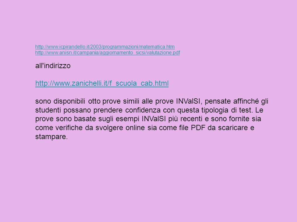 http://www.icpirandello.it/2003/programmazioni/matematica.htm http://www.anisn.it/campania/aggiornamento_sicsi/valutazione.pdf all'indirizzo http://ww