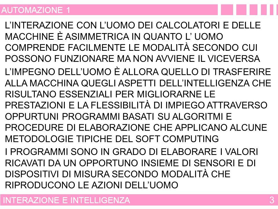 SIGNIFICATO DI ALGORITMO GENETICO 43 AUTOMAZIONE 1 ALGORITMI GENETICI POPOLAZIONE INIZIALE AGGIORNAMENTO DELLA POPOLAZIONE FIGLI COME INCROCIO DI PATRIMONIO GENETICO CALCOLO DELLA FUNZIONE OBIETTIVO SELEZIONE PER LA SOPRAVVIVENZA SELEZIONE CASUALE DEI GENITORI MUTAZIONE CASUALE DEL PATRIMONIO GENETICO